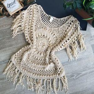 Vivid Collection Boho Chic Fringe Open Knit Blouse